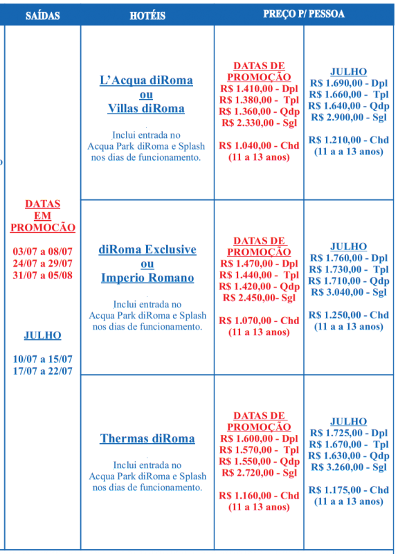 Calendário de Viagem Julho